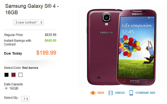 samsung galaxy s4 red aurora